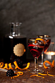 Sloe gin served with a twist of orange peel