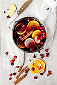 Non-alcoholic fruit punch with spices and cranberries