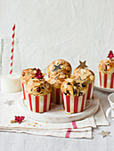 Panettone muffins with almonds and cranberries