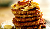 Pancakes with bananas, nuts and honey