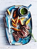 Barbecued Lamb Leg with Lemon Thyme Salsa Verde
