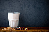 A protein shake made with spelt and hazelnut milk