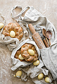 Easter Bread Nests made with wheat bread and eggs