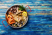Seafood platter: Prawn Shrimp, Vongole Clams, Squid rings, Octopus, roast Mackerel and roasted Perch