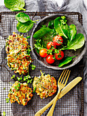 Cherry Tomato Salad with Zucchini Fritters