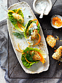 Dill and Lemon Yoghurt Crispy Fish Lettuce Wraps