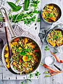 Currysuppe mit Linsen und Gemüse