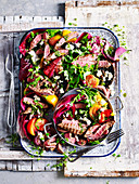 Lamb Spinach Salad with Spinach Pesto Dressing
