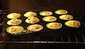 Muffins baking in the oven (time lapse)