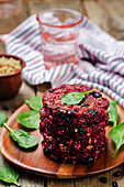 Black bean quinoa beet walnuts burgers with spinach