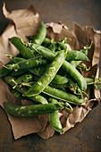 Fresh organic peas and pods