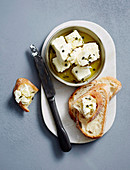 Marinated feta with baguette