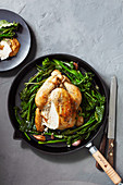 Roast Chicken with anchovy butter and greens (One pot wonder)