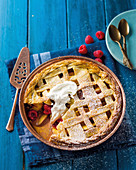 Stone fruit and raspberry pie
