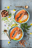 Chia and coconut bowl with papaya and grenadilla