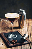 Coffee cocktail in martini glass