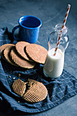 Toffee waffle biscuits with milk