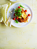 weet Potato Rosti with Haloumi and Tomatoes