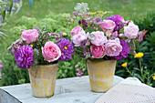 Ton-in-Ton Sträuße aus Rosen, Dahlien, Sterndolde, Schafgarbe und Ehrenpreis