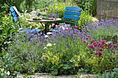 Sitzgruppe im Garten zwischen Lavendel und Rosen