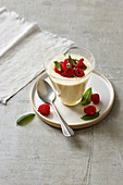 Bavarian cream with marinated raspberries