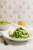 Tagliatelle with rocket pesto and almonds