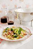Tagliatelle with broccoli and salsiccia
