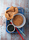 Black, white and roasted sesame seeds
