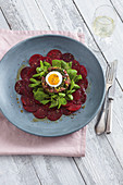 Beetroot carpaccio with beef tartare