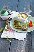 Ham tartare, potato soup and potatoes with pumpkin seed pesto