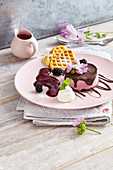 Frozen blackberry yogurt cake with waffles