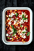 Baked beans with feta cheese