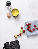Ingredients for poppy-seed waffle with quick jam