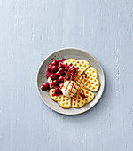 Classic waffles with cherries and caramel