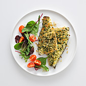 Bass fillets with a herb and breadcrumb crust