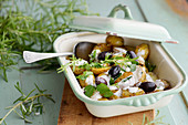 Garlic roasted potato salad with rosemary spice vegetables