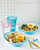 Lentil and brown rice kedgeree with mackerel