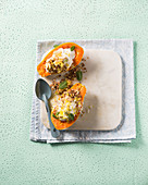 Papaya with lime yoghurt and almond flakes