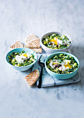 Green shakshuka with eggs