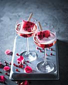 Pomegranate and rose poptails