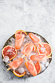 Grapefruit and champagne ice popsicles