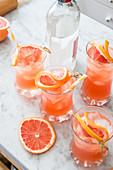 Rosa Grapefruitsaft und Gin