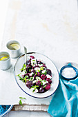 Roasted beetroot with herbs and goat's cheese