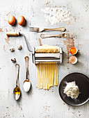 Homemade pasta with ingredients