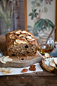 Healthy apple bread with pecan nuts