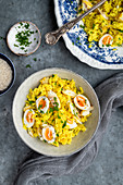 Kedgeree with saffron, eggs and haddock
