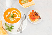 Carrots and fennel roasted soup served with focaccia