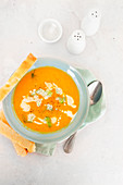 Carrots and fennel roasted soup with focaccia