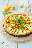 Puff pastry quiche with vegetables