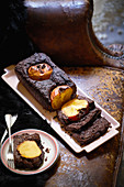 Chocolate cake with persimmon